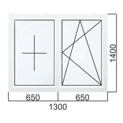 Двухстворчатое окно 1300×1400 мм