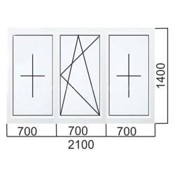 Трехстворчатое окно 2100×1400 мм