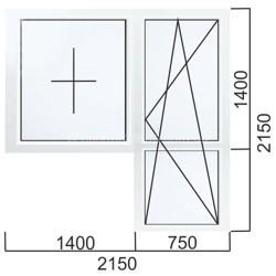 Балконный блок Дверь 750×2150, окно 1400×1400 мм
